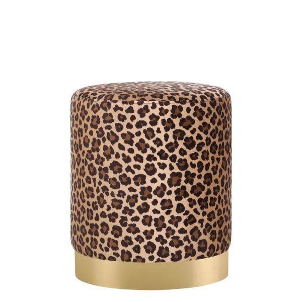 Leopard Print Velvet Marie Low Stool Art Deco Furniture