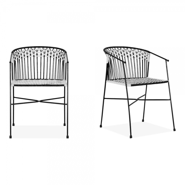 Groovy Marisol Set Of 2 Garden Dining Chairs Black And White Caraccident5 Cool Chair Designs And Ideas Caraccident5Info