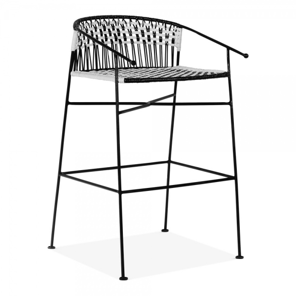 Marisol Woven Garden Bar Stool With Backrest Black And White 69cm