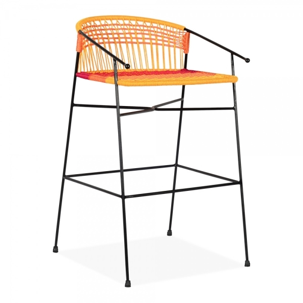 Enjoyable Cult Living Marisol Woven Garden Bar Stool With Backrest Multi Coloured 69Cm Gmtry Best Dining Table And Chair Ideas Images Gmtryco