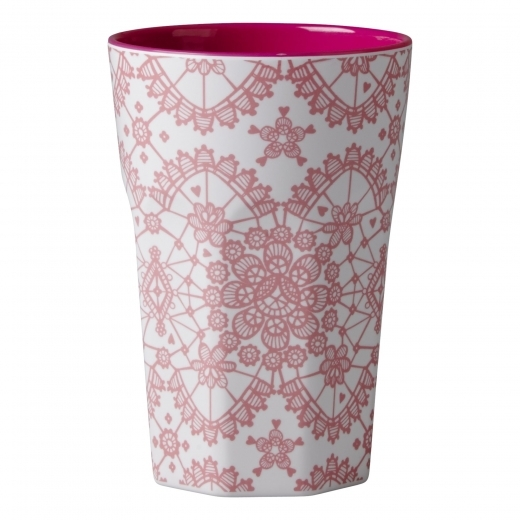 Rice Melamine Tall Cup with Lace Print - Pink