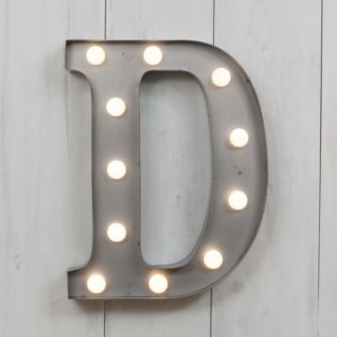 "Metal 11"" Mini L.E.D. Letter Lights D - Choice of Colour"