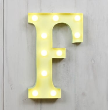 "Metal 11"" Mini L.E.D. Letter Lights F - Choice of Colour"
