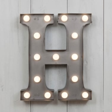 "Metal 11"" Mini L.E.D. Letter Lights H - Choice of Colour"