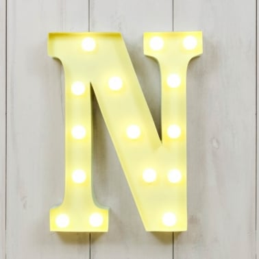 "Metal 11"" Mini L.E.D. Letter Lights N - Choice of Colour"