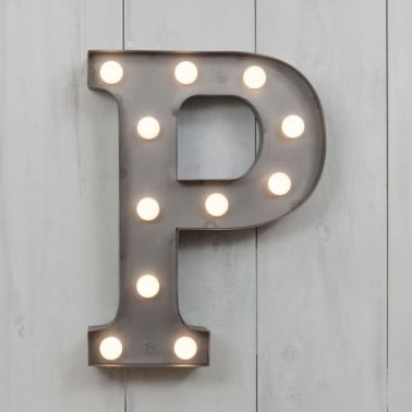 "Metal 11"" Mini L.E.D. Letter Lights P - Choice of Colour"