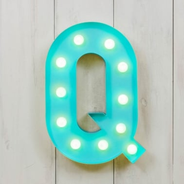 "Metal 11"" Mini L.E.D. Letter Lights Q - Choice of Colour"