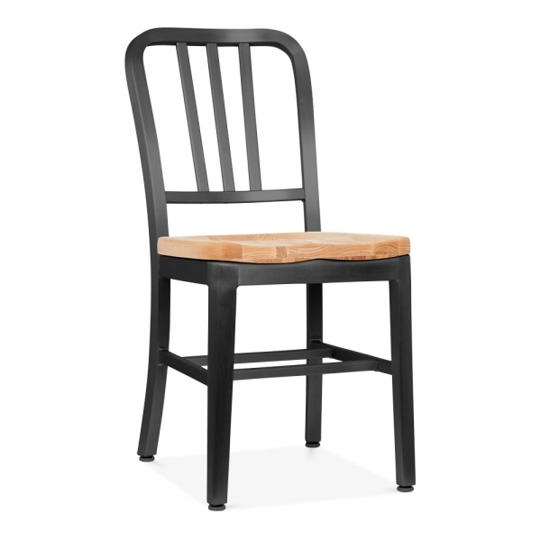 Matte Black Metal Navy Chair 1006 With Wood Seat Restaurant Chairs