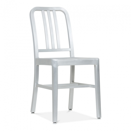 Navy Style Metal Dining Navy Chair 1006 - Silver Anodized