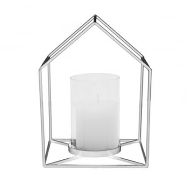 Metal House Shaped Candle Holder, Chrome