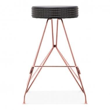 Moda Metal Bar Stool CD1, Faux Leather Stud Seat, Copper 66cm