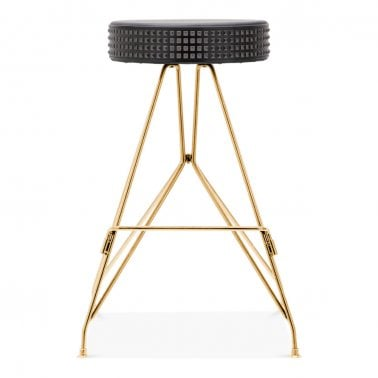 Moda Metal Bar Stool CD1, Faux Leather Stud Seat, Gold 66cm