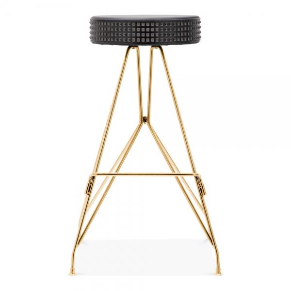Pleasing Moda Metal Bar Stool Cd1 Faux Leather Stud Seat Gold 76Cm Theyellowbook Wood Chair Design Ideas Theyellowbookinfo