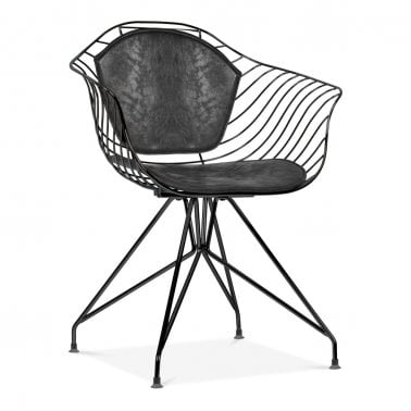 Moda Wire Metal Dining Armchair CD6, Black