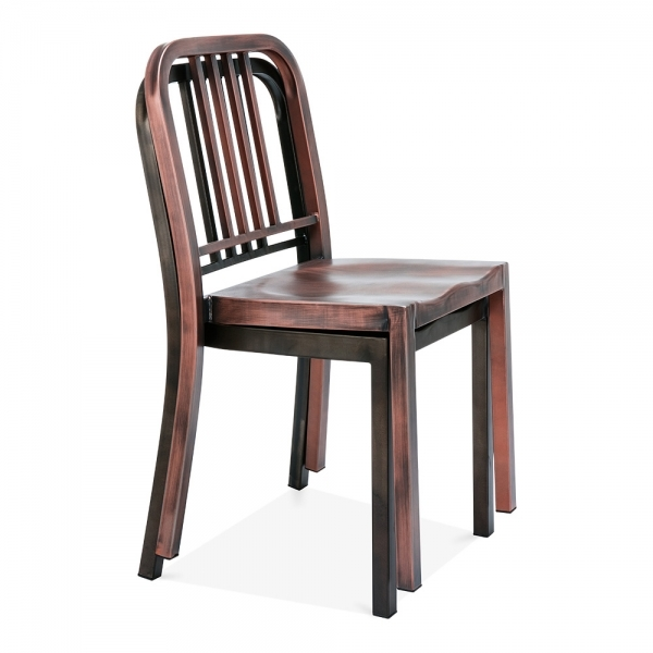Navy Style Metal Dining Chair 1006   Brushed Copper