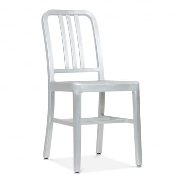 Metal Dining Navy Chair 1006 - Silver Anodized