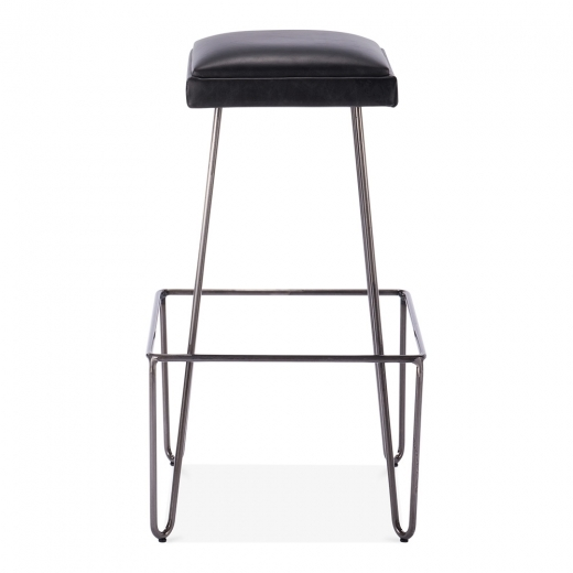 Cult Living Newton Metal Bar Stool with Leather Cushion Seat - Black 76cm