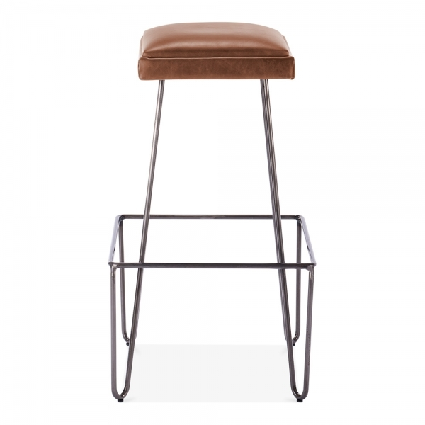 Black Metal Bar Stool With Brown Microfiber Seat By: Newton Metal Bar Stool With Leather Cushion Seat Brown