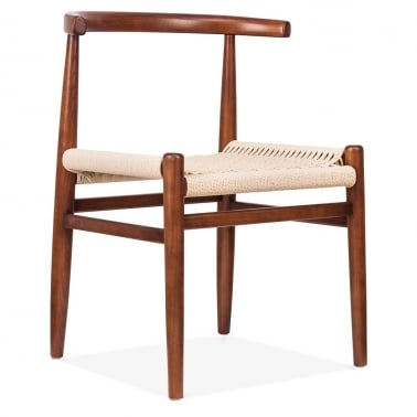 Nordic Chair With Weave Seat - Walnut