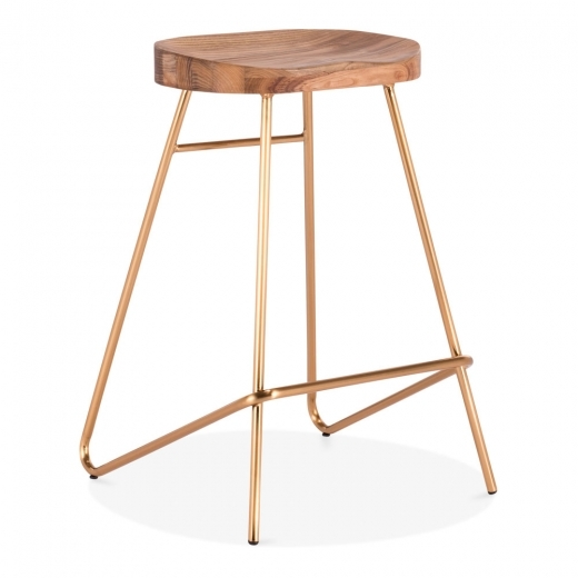 Cult Living Norse Metal Bar Stool, Solid Elm Wood, Brass 65cm