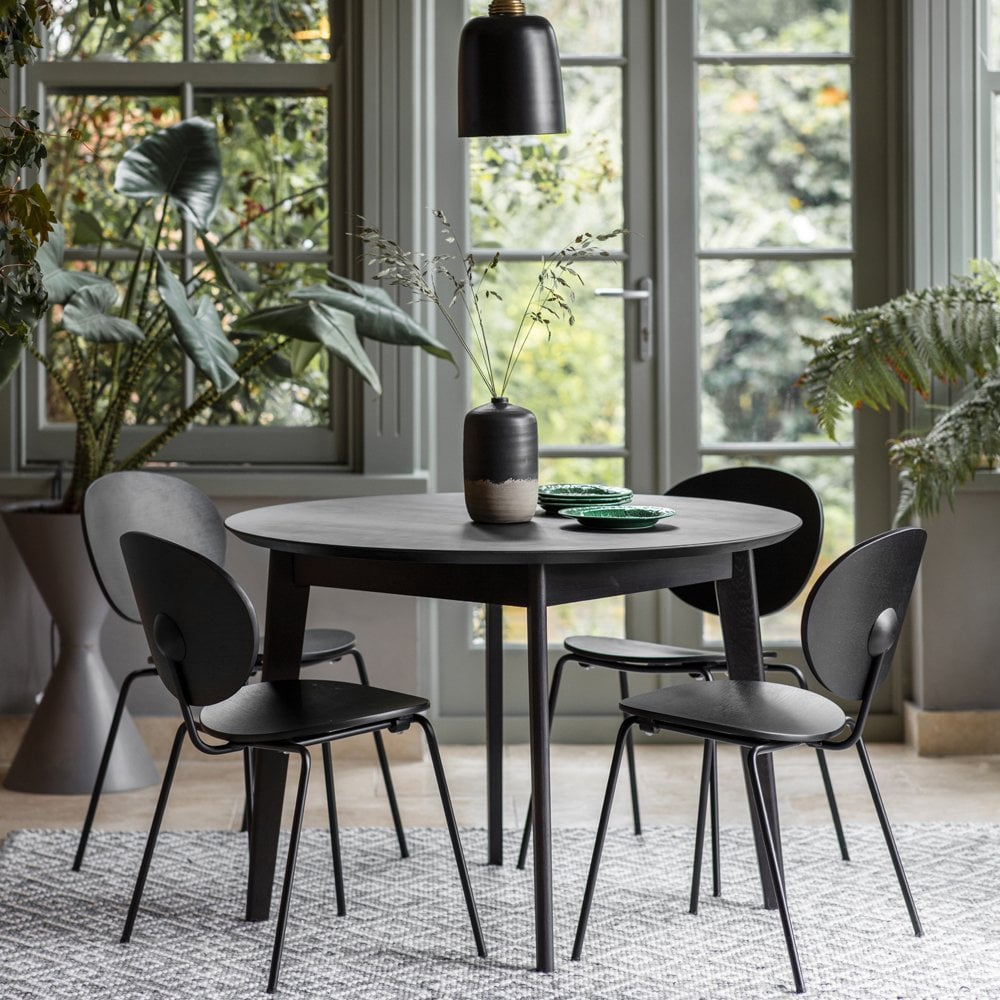 Black Novato Round Dining Table 110cm Modern Dining Tables