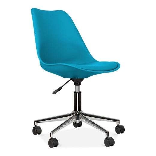 Eames Inspired Office Chair With Soft Pad Seat, Marine Blue