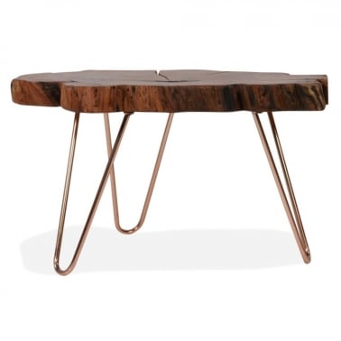 Olympia Live Edge Coffee Table, Solid Acacia Wood, Copper
