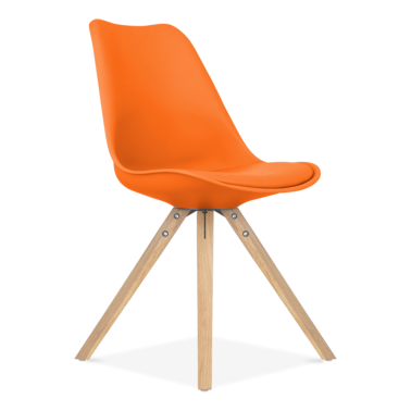 Orange Dining Chair with Pyramid Style Solid Oak Wood Legs