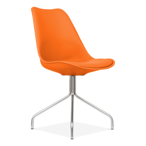 Eames Inspired Orange Dining Chairs With Metal Cross Legs