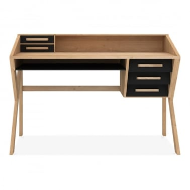 Origami Desk 5 Drawers - Black