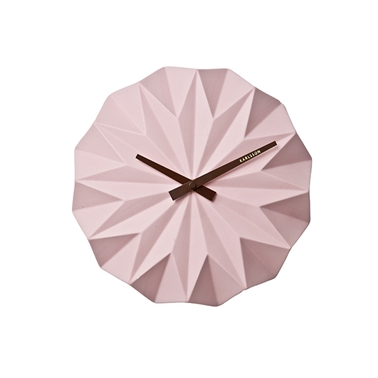 Origami Style Ceramic Wall Clock - Pastel Pink