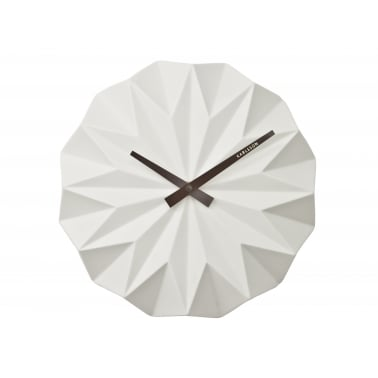 Origami Style Ceramic Wall Clock - White
