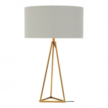 Orion Geometric Tripod Table Lamp, Brass and White