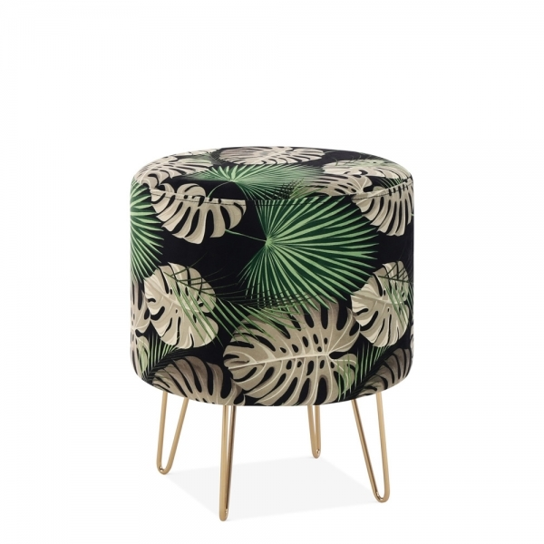 Magnificent Cult Living Paloma Round Footstool Velvet Upholstered Botanical Print Unemploymentrelief Wooden Chair Designs For Living Room Unemploymentrelieforg