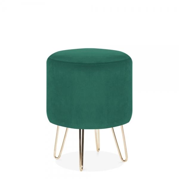 Awe Inspiring Paloma Round Footstool Velvet Upholstered Forest Green Lamtechconsult Wood Chair Design Ideas Lamtechconsultcom