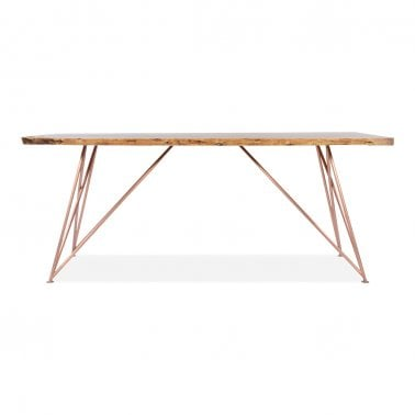 Parker Geometric Dining Table, Live Edge Wood, Copper 180cm
