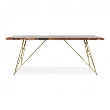 Parker Geometric Dining Table, Live Edge Wood, Gold 180cm