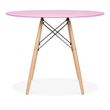 Pastel Pink DSW Dining Round Table - Diameter 90cm