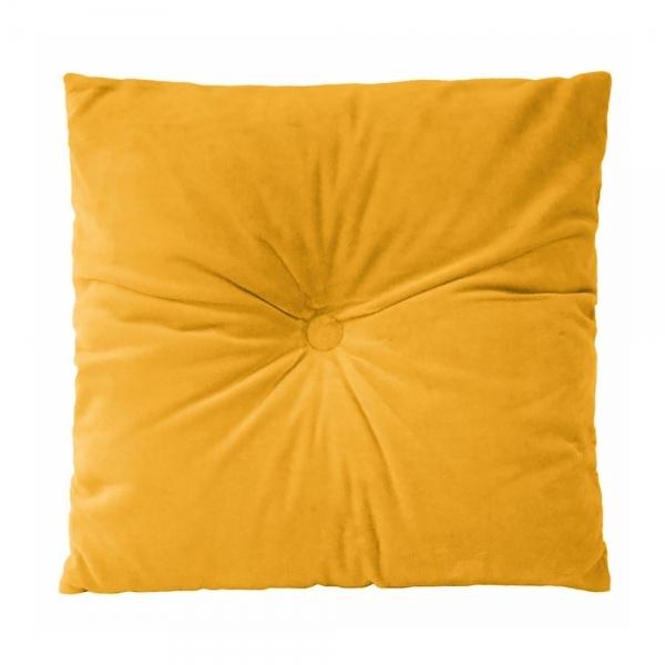Present Time Plush Velvet Fabric Cushion Mustard