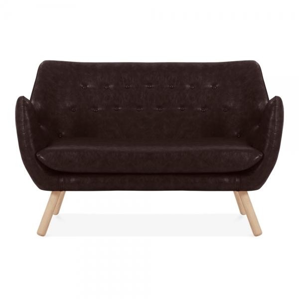 Sensational Cult Living Poet 2 Seater Loveseat Sofa Faux Leather Upholstered Vintage Brown Machost Co Dining Chair Design Ideas Machostcouk