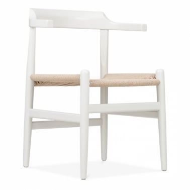 PP68 chair designed in 1987 – White With Natural Seat