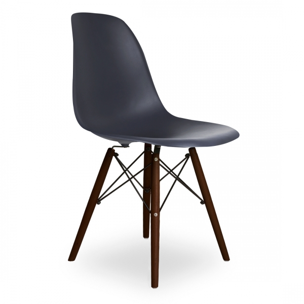 dark grey dsw style chair (walnut stained legs) - Copie Chaise Eames Dsw