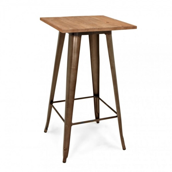 Tolix Style Metal Bar Table with Wood Top Rustic 108cm ...