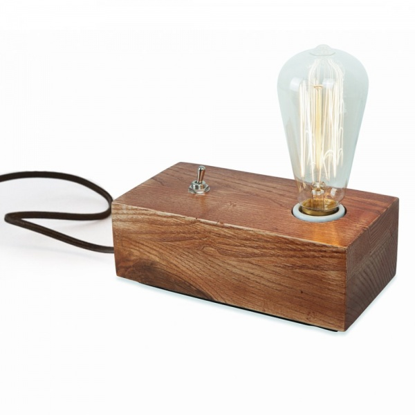 Vintage style wood black edison table lamp in brown cult uk for Lampe de chevet rechargeable