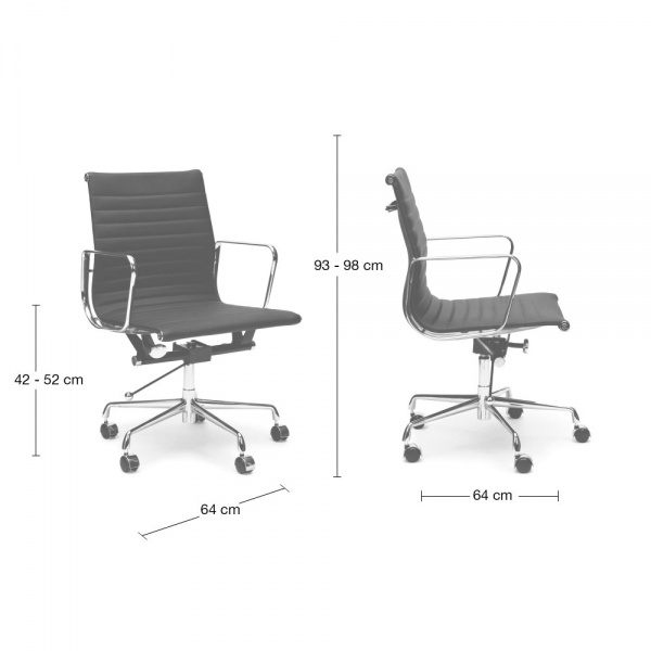 Eames Inspired Cream Short Back Ribbed Office Chair View All