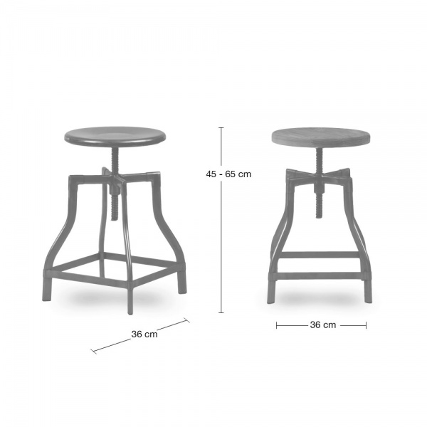 industrial swivel adjustable stool black 45 65cm bar stools cult uk. Black Bedroom Furniture Sets. Home Design Ideas
