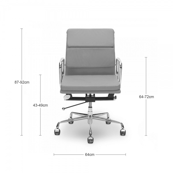 eames style grey short back soft pad executive office chair | cult uk
