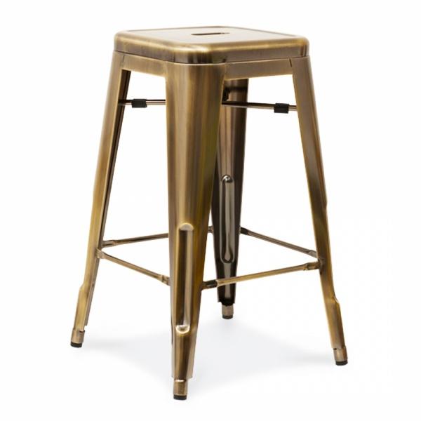 Tolix style metal bar stool brass 65cm counter height stools - Tolix counter stools ...