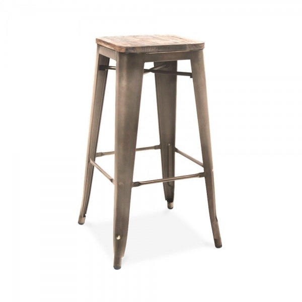 Rustic gunmetal with wood seat 75cm tolix style stool - Tabouret de bar style tolix ...