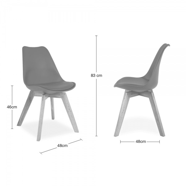 Cool grey dining chair with solid oak crossed wood legs for Ou acheter chaise eames